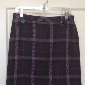 Loft Purple Plaid Skirt 4P